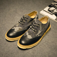 Fashion British Mens Camouflage Brogues Dress Shoes Carved Wingtip Oxfords Flats