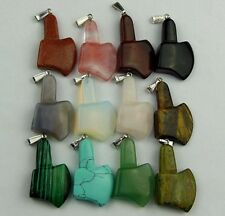 wholesale Mixed material carved 42x25x9mm Axe pendant bead