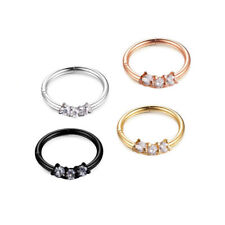 16G Nose Ring Small Clear CZ Crystal Surgical Steels Nose Hoop Ring Ear Piercing