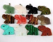 Wholesale Mixed material carved elephant pendant bead 43x34x7mm