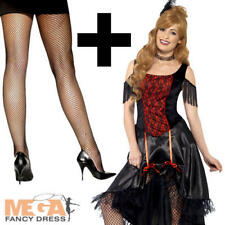 Saloon Girl + Tights Ladies Fancy Dress Western Burlesque Adults Womens Costume