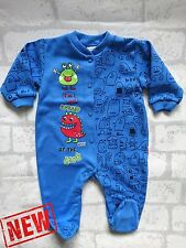 """NEW Baby Boys """"Little Monsters"""" Babygrow * Sleepsuit * Playsuit 100% Cotton"""
