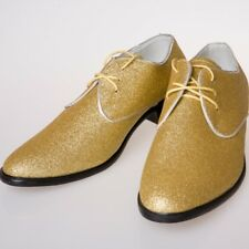 Mens Lace Up Glitter Gold Shoe Fashion Casual Dress Formal Oxford Wedding Shoes