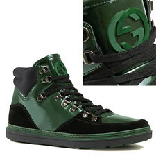 US 10.5 12.5 NEW $750 GUCCI Green Black SOFTY TEK Leather HIGHTOP SNEAKERS Boots