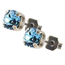 Nara Small Crystal Stud Earrings, Silver Plated Post with Swarovski