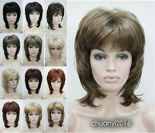 Fashion Lady Medium Straight Curly Natural Daily High quality Hair wigs +Wig Cap