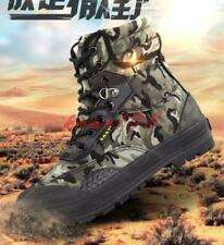 Mens Camo Lace Up Combat Shoes army canvas Breath High Top Desert Ankle Boots
