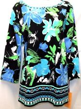 RUBY RD. WOMEN PLUS SIZE 2X 3X BEADED ROUND NECK 3/4 SLEEVE FLORAL TOP SHIRT NEW