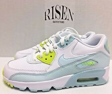 Nike Air Max 90 LTR GS Youth White Blue Green 833376-100 Girl's Shoes NWOB