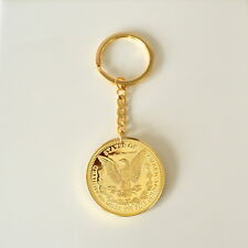 1896 Morgan Eagle Key Chain Holder Ring 24K Gold Plated 40mm Coin Collectibles
