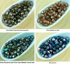 100pcs Crystal Metallic Round Faceted Fire Polished Spacer Czech Glass Beads 4mm