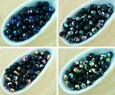 100pcs Opaque Jet Black Metallic Half Round Faceted Fire Polished Small Spacer C