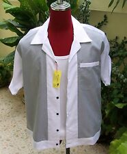 Men's  Rockabilly Vintage 1950's Style White  Houndstooth  Bowling Shirt