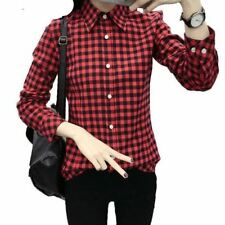 Women New Red Color Spring Autumn Plaid Long Sleeve Plus Size Shirt