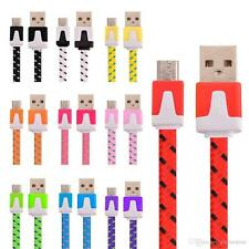 NEW COLOURS  Micro USB 2m meter lead cable Nylon braided  UK SELLER FAST POST