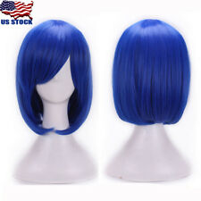 Women Anime Bangs Short Wig Cosplay Party Straight Hair Cosplay Full Wig Blue US