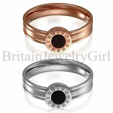 Stainless Steel Promise Wedding Ring with Roman Numerals for Women Band Size 5-8