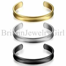 10MM Stainless Steel Polished Finish Grooved Cuff Bangle Bracelet for Men Women