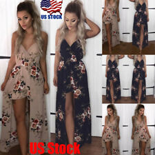 US Women V Neck Chiffon Sling Jumpsuit Romper Shorts Slip Dress Cocktail Dresses