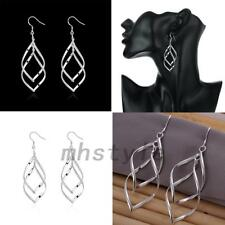 Silver Plated Leaf Pierced Ear Dangle Drop Earrings Eardrop Jewelry Engagement