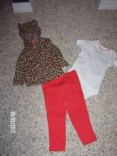 NWT Carters Baby Girls 3 Piece Outfit 12M and 24M