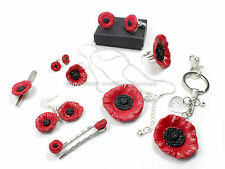 Black~ Red poppy flower remembrance handmade fimo cufflinks, tie pin gift boxed