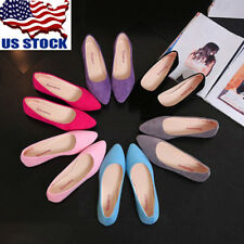 US Womens Summer Casual Low Top Plain Loafers Oxfords Ballet Flats Slip On Shoes