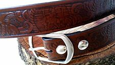 WESTERN RODEO BULL RIDER LEATHER  MENS BELT AND BUCKLE. 1 1/2in.