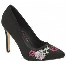Ladies Dolcis Tanya Black Embroidered Floral Court Shoe