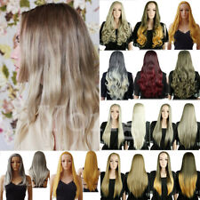 Fast Ship Women Half Wig Long Straight Curl Wave Hair Cosplay Synthetic Hair Wig