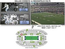 Two Dallas Cowboys vs Colts Game Tickets, Sec. 227 Row 1 Arlington, GREAT VIEW!