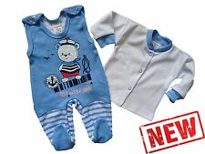 """NEW Baby Boys""""MARINE STYLE"""" Outfit Set *Babygrow & Long Sleeve Top 100% Cotton"""