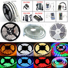 1M-20M SMD 5050 RGB/White Flexible Strip String Light Lamp Rope (Remote+Power)