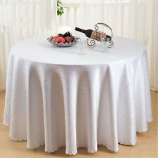 Damask Dining Table Cloth Round 90 inch Tablecloth White Swirl Kitchen Cover