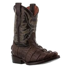 Boys Toddler Little Kids Brown Crocodile Tail Western Leather Cowboy Boots Rodeo