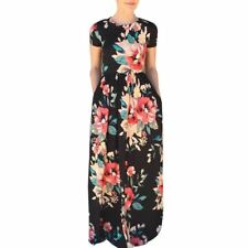 Summer New Floral Printed O-neck Short Sleeve Evening Dress (US Shipping)