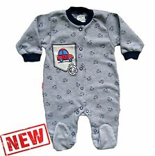 "NEW ""My Little Car"" Baby Boys * Playsuit * Sleepsuit * Babygrow * 100% Cotton"