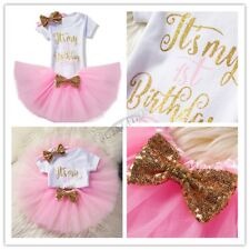 3 Pcs Outfit Newborn Baby Girl It'S My 1St Birthday Romper Skirt Headband Size 1