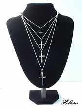 925 Sterling Silver Cross, Latin Pendant and Curb Chain Necklace in Gift Bag.