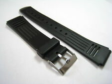 Black Rubber/Plastic Watch Strap. 16mm, 18mm & 20mm. Fast Delivery from UK