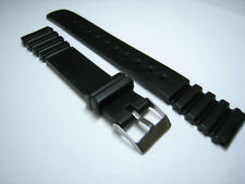 Rubber/Plastic Black Watch Strap. 12mm, 14mm & 18mm. Fast Deliver From UK.