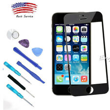NEW Black Front Touch Screen Glass Lens Replacement Tools For Apple iPhone 5 5S