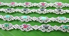 925 sterling silver REAL STONE Emerald Ruby Sapphire &Marcasite BRACELET - WOMEN