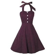 Vintage Style Summer Spaghetti Strap Polka Dot Printed Party Dress for Women