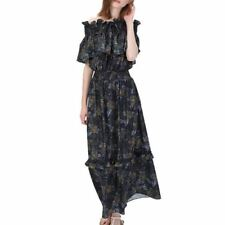 Summer Floral Printed Slash Neck Casual Ruffles Party Maxi Dress For Women