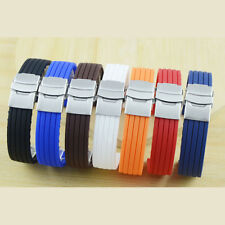 Mens Silicone Rubber Watch Strap Band Waterproof With Deployment Clasp 16-24mm