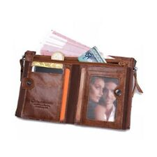 Mens Genuine Leather Wallet Short ZIPPER Cowhide Checkbook Card Holder Purse