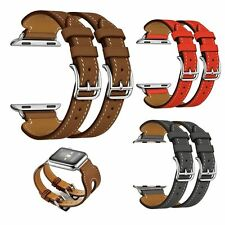 Leather Double Cuff Buckle Watch Band Strap For Apple Watch Series 2/1 38mm/42mm