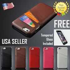 Leather Pouch Credit Card Wallet Case Cover  Apple iPhone 6 6S Plus Free  GLASS