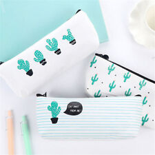New Canvas Cactus Pencil Stationery Case Box Cosmetic Makeup Pouch Zipper Bag